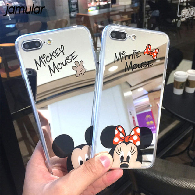 Cartoon Mickey Mouse Mirror Phone Cases for iPhone 6 6s Plus SE 5S  iPhone 7 8 Plus X