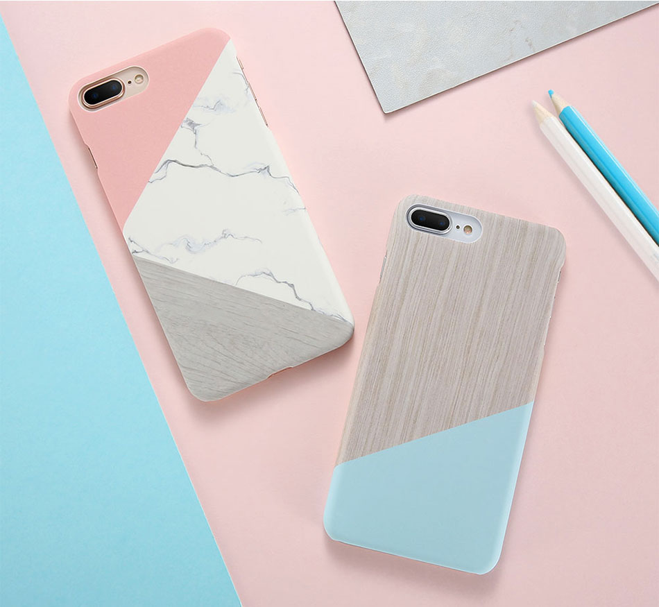 DOEES Hit Color Marble Hard PC Case For iPhone 5 5S SE 6 6S 7 8 Plus For iPhone X Case Wood Pattern Cover For iPhone 5 6 7 8 X (2)