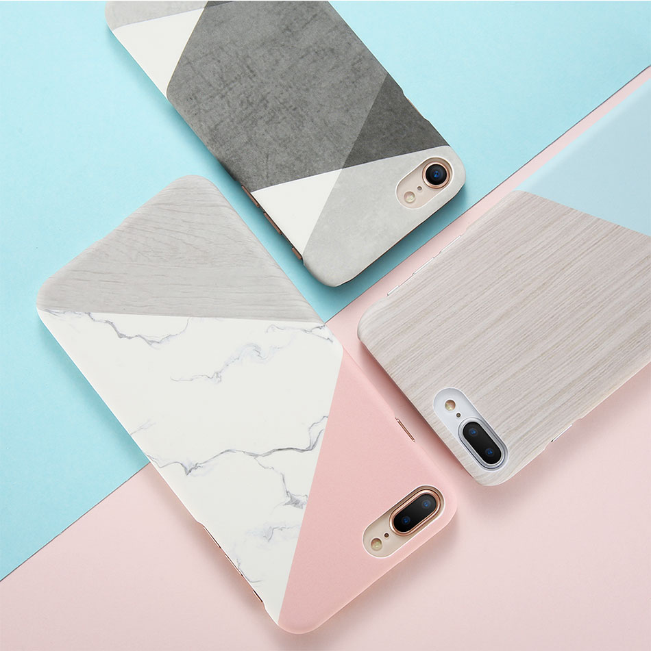 DOEES Hit Color Marble Hard PC Case For iPhone 5 5S SE 6 6S 7 8 Plus For iPhone X Case Wood Pattern Cover For iPhone 5 6 7 8 X (7)