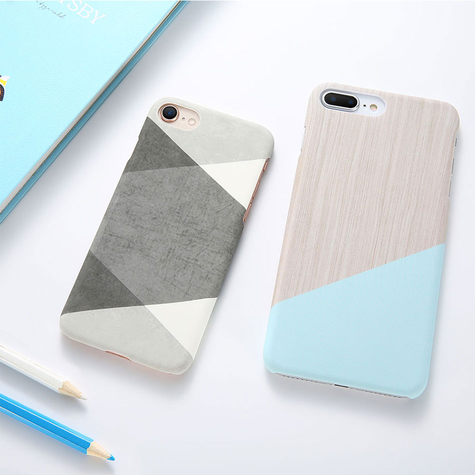 DOEES Hit Color Marble Hard PC Case For iPhone 5 5S SE 6 6S 7 8 Plus For iPhone X Case Wood Pattern Cover For iPhone 5 6 7 8 X (6)